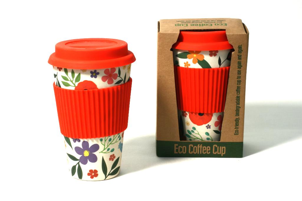 Bambus Coffee To Go Becher Blumen Misuki Webshop